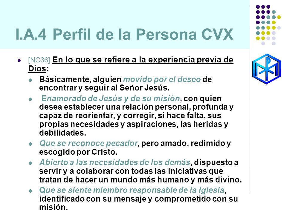 I.A.4 Perfil de la Persona CVX [NC36] En lo que se refiere a la experiencia previa de Dios: Básicamente, alguien movido por el deseo de encontrar y se