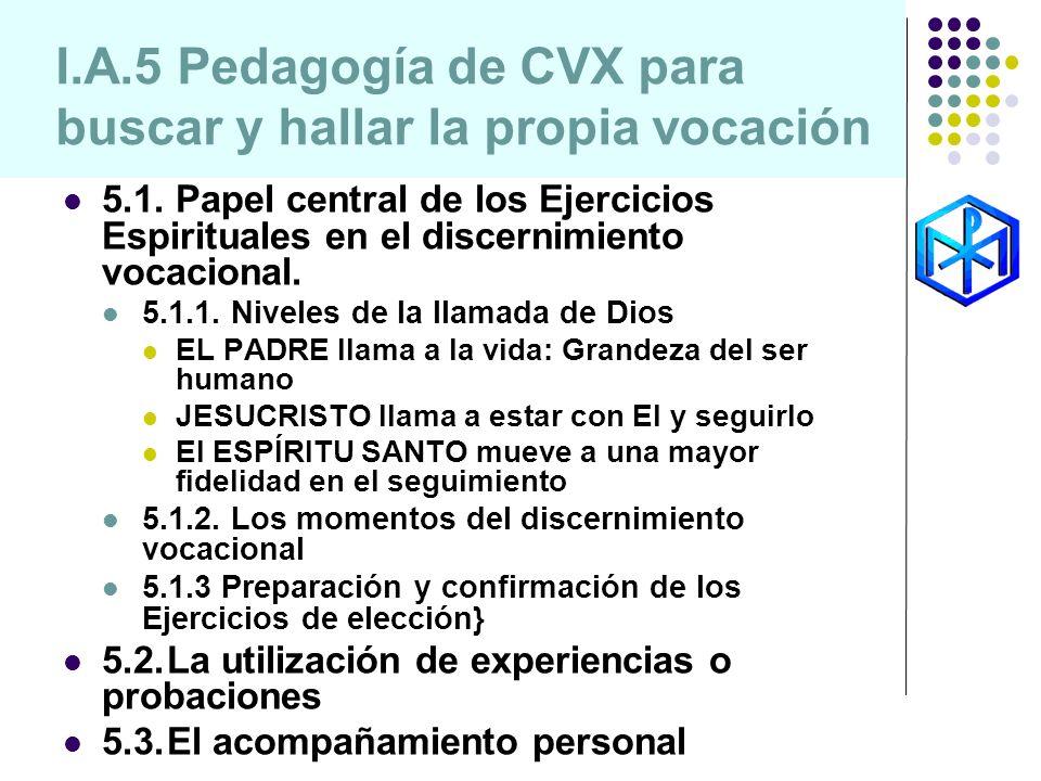I.A.5 Pedagogía de CVX para buscar y hallar la propia vocación 5.1. Papel central de los Ejercicios Espirituales en el discernimiento vocacional. 5.1.