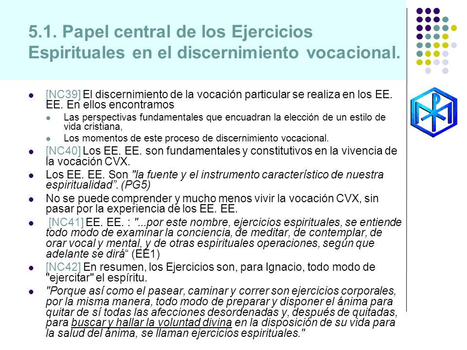 5.1. Papel central de los Ejercicios Espirituales en el discernimiento vocacional. [NC39] El discernimiento de la vocación particular se realiza en lo
