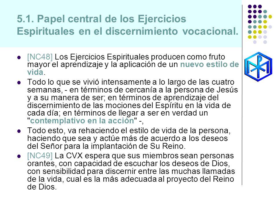 5.1. Papel central de los Ejercicios Espirituales en el discernimiento vocacional. [NC48] Los Ejercicios Espirituales producen como fruto mayor el apr