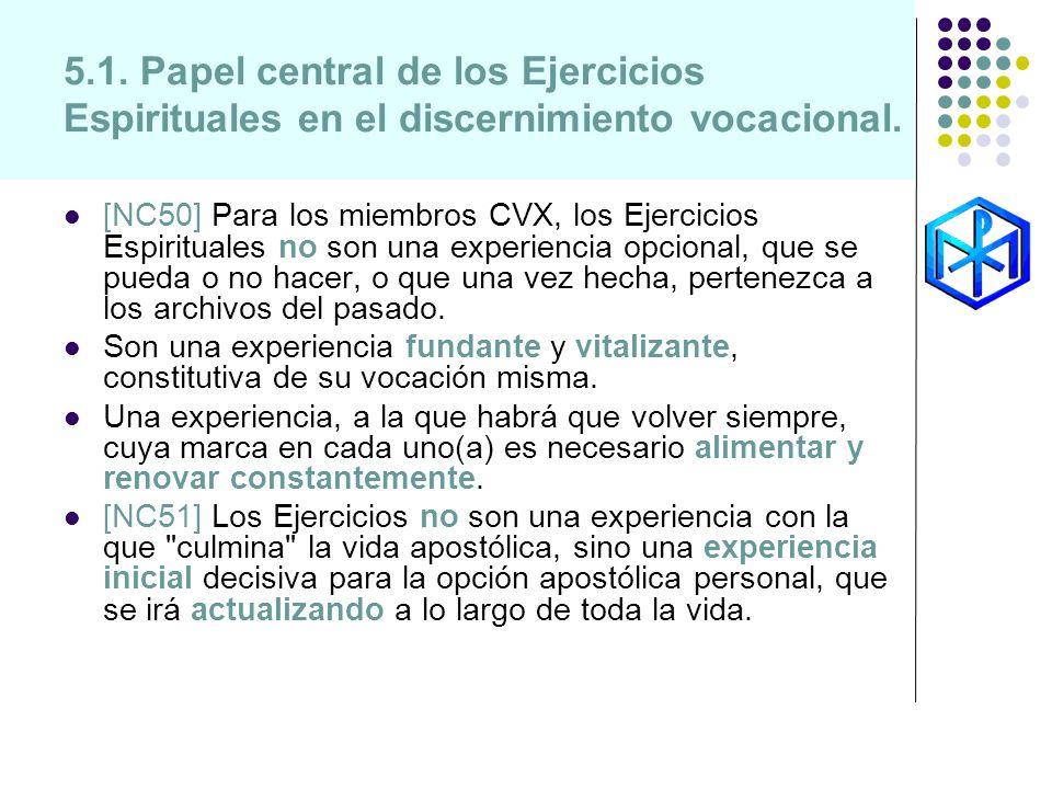 5.1. Papel central de los Ejercicios Espirituales en el discernimiento vocacional. [NC50] Para los miembros CVX, los Ejercicios Espirituales no son un