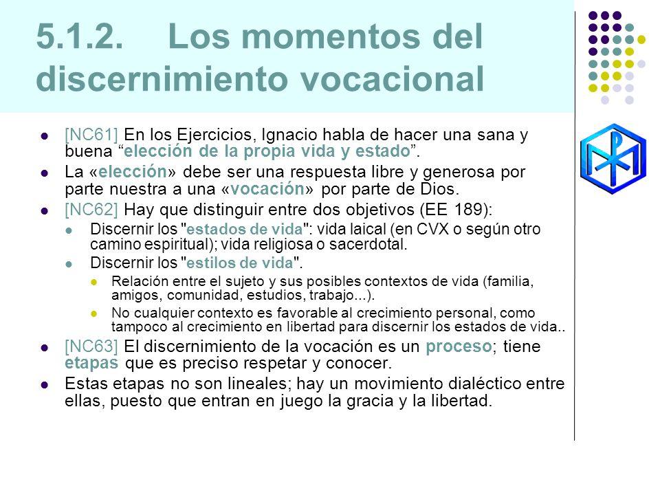 5.1.2. Los momentos del discernimiento vocacional [NC61] En los Ejercicios, Ignacio habla de hacer una sana y buena elección de la propia vida y estad