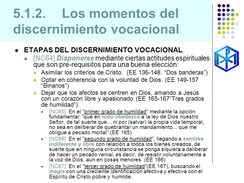 5.1.2. Los momentos del discernimiento vocacional ETAPAS DEL DISCERNIMIENTO VOCACIONAL. [NC64] Disponerse mediante ciertas actitudes espirituales que