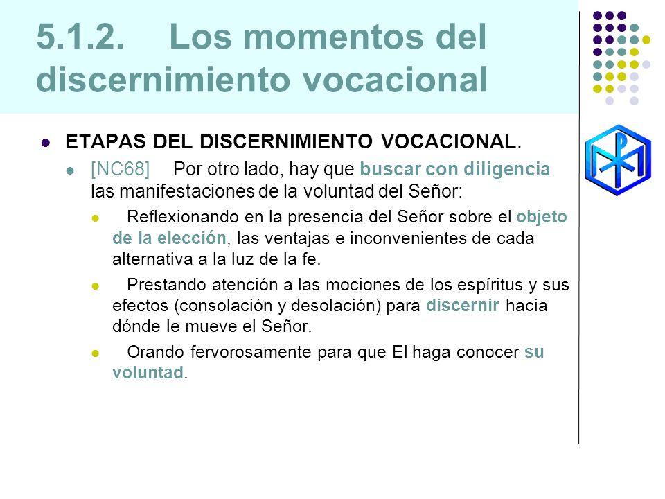 5.1.2. Los momentos del discernimiento vocacional ETAPAS DEL DISCERNIMIENTO VOCACIONAL. [NC68] Por otro lado, hay que buscar con diligencia las manife