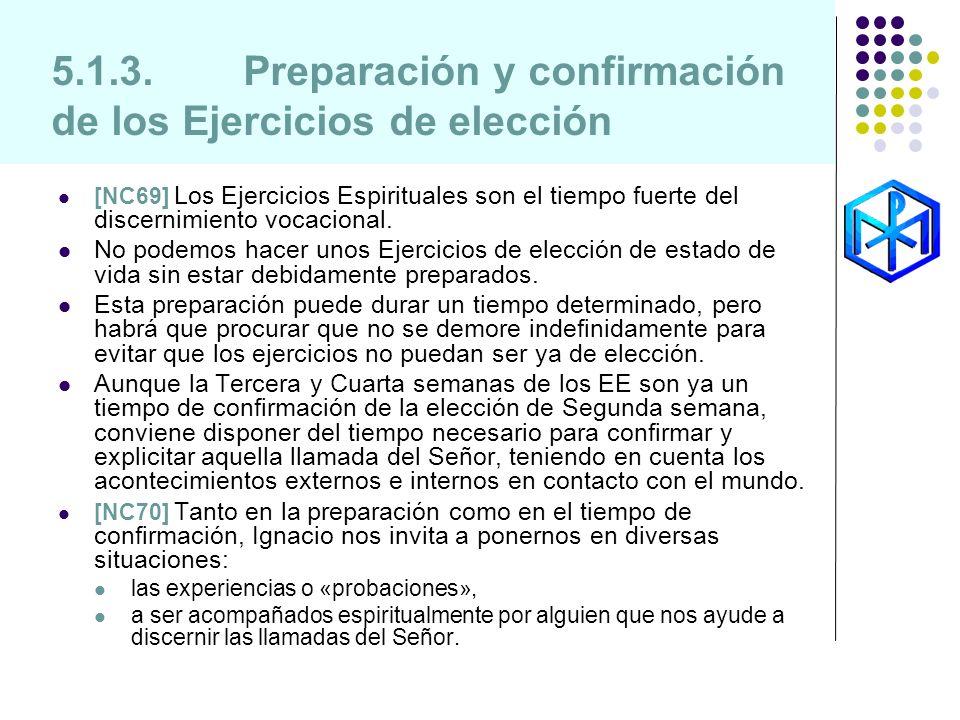 5.1.3.Preparación y confirmación de los Ejercicios de elección [NC69] Los Ejercicios Espirituales son el tiempo fuerte del discernimiento vocacional.