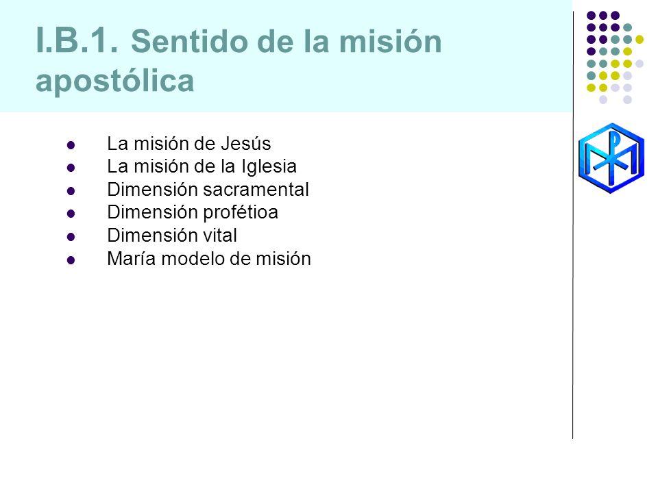 La misión de Jesús La misión de la Iglesia Dimensión sacramental Dimensión profétioa Dimensión vital María modelo de misión