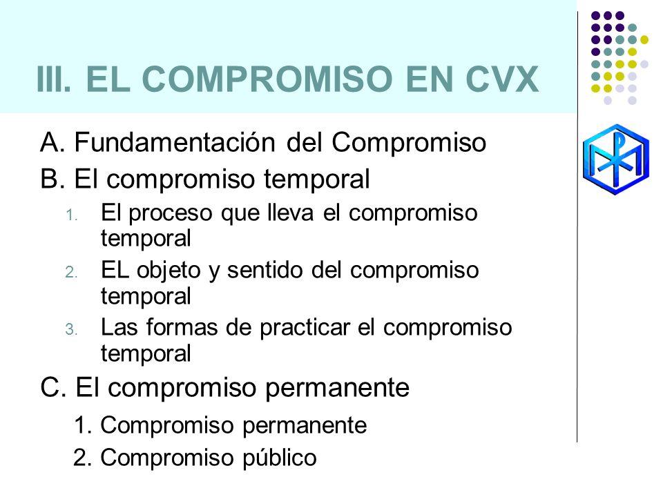 III. EL COMPROMISO EN CVX A. Fundamentación del Compromiso B. El compromiso temporal 1. El proceso que lleva el compromiso temporal 2. EL objeto y sen
