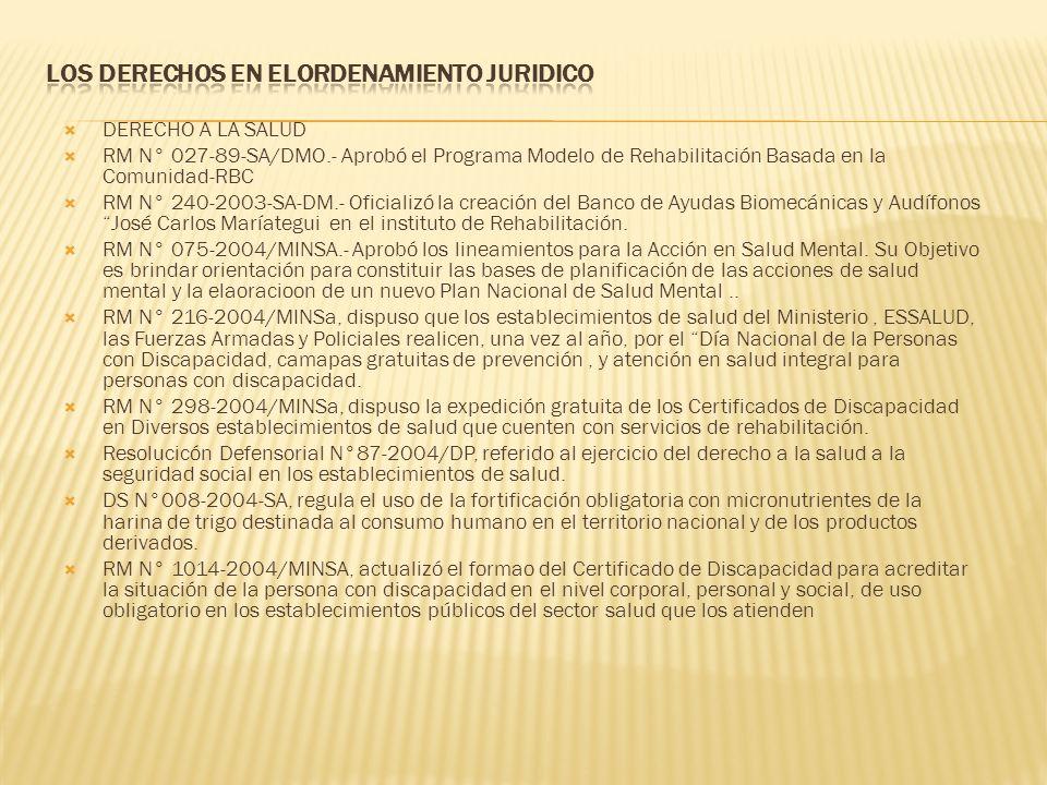 DERECHO A LA SALUD RM N° 027-89-SA/DMO.- Aprobó el Programa Modelo de Rehabilitación Basada en la Comunidad-RBC RM N° 240-2003-SA-DM.- Oficializó la c