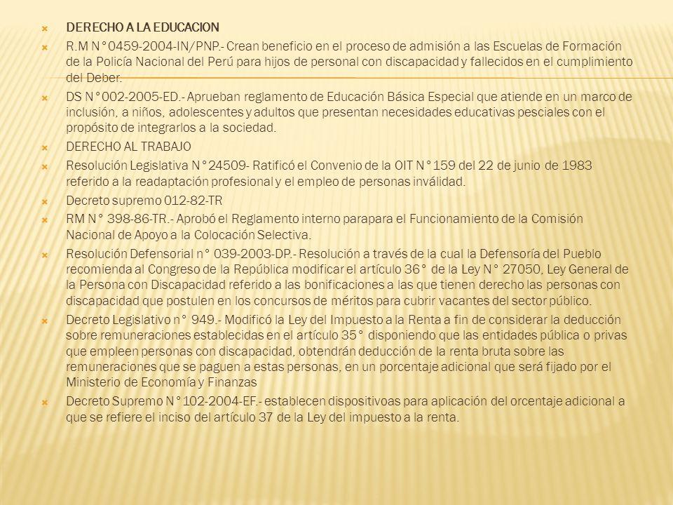 DERECHO A LA EDUCACION R.M N°0459-2004-IN/PNP.- Crean beneficio en el proceso de admisión a las Escuelas de Formación de la Policía Nacional del Perú