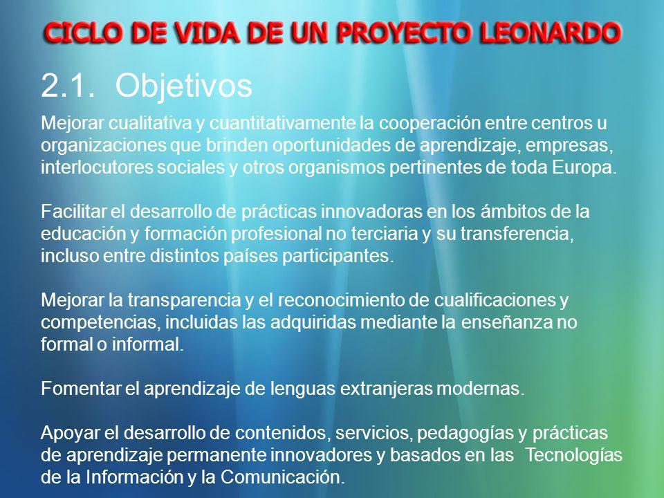 2.1. Objetivos Mejorar cualitativa y cuantitativamente la cooperación entre centros u organizaciones que brinden oportunidades de aprendizaje, empresa