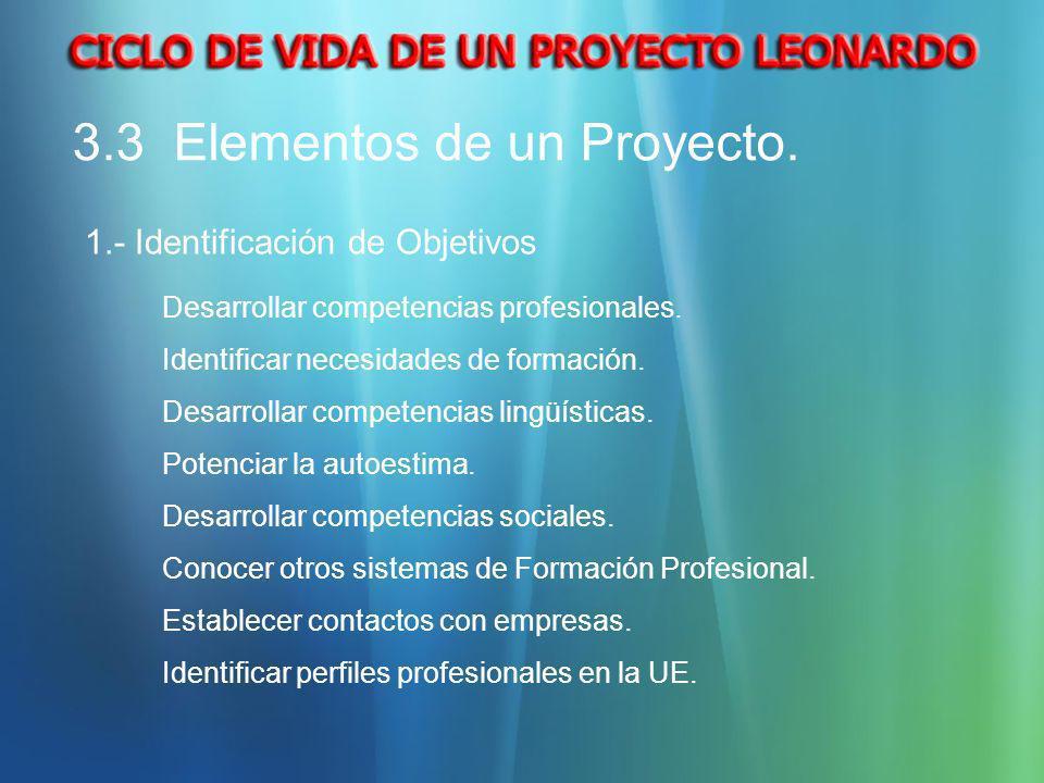 3.3 Elementos de un Proyecto. 1.- Identificación de Objetivos Desarrollar competencias profesionales. Identificar necesidades de formación. Desarrolla