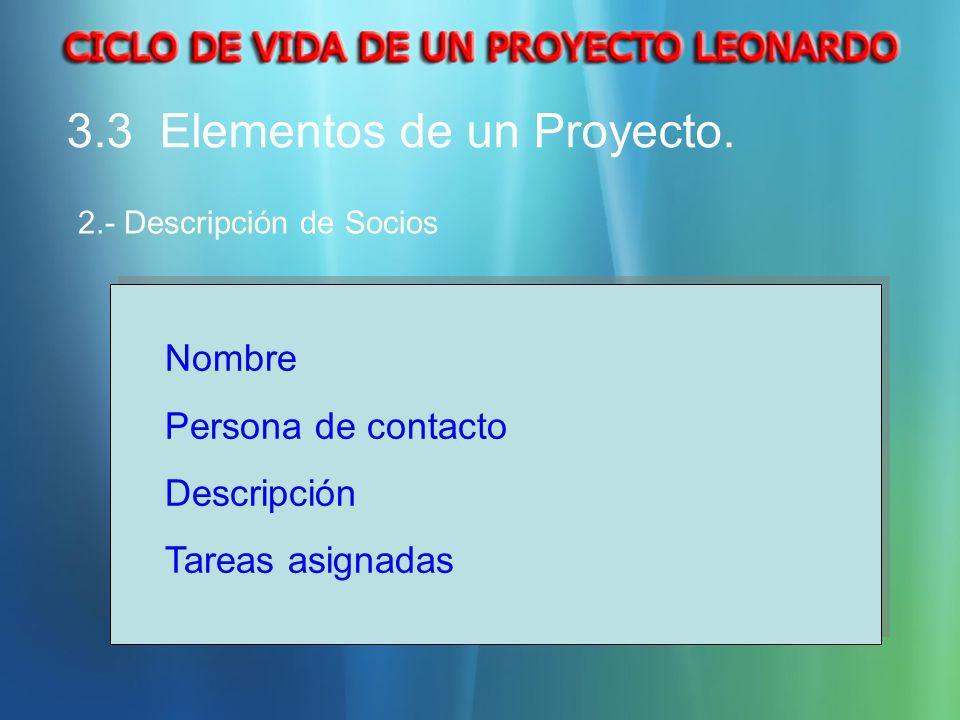 3.3 Elementos de un Proyecto. 2.- Descripción de Socios Nombre Persona de contacto Descripción Tareas asignadas