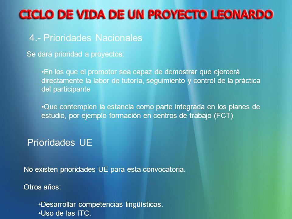 Se dará prioridad a proyectos: En los que el promotor sea capaz de demostrar que ejercerá directamente la labor de tutoría, seguimiento y control de l