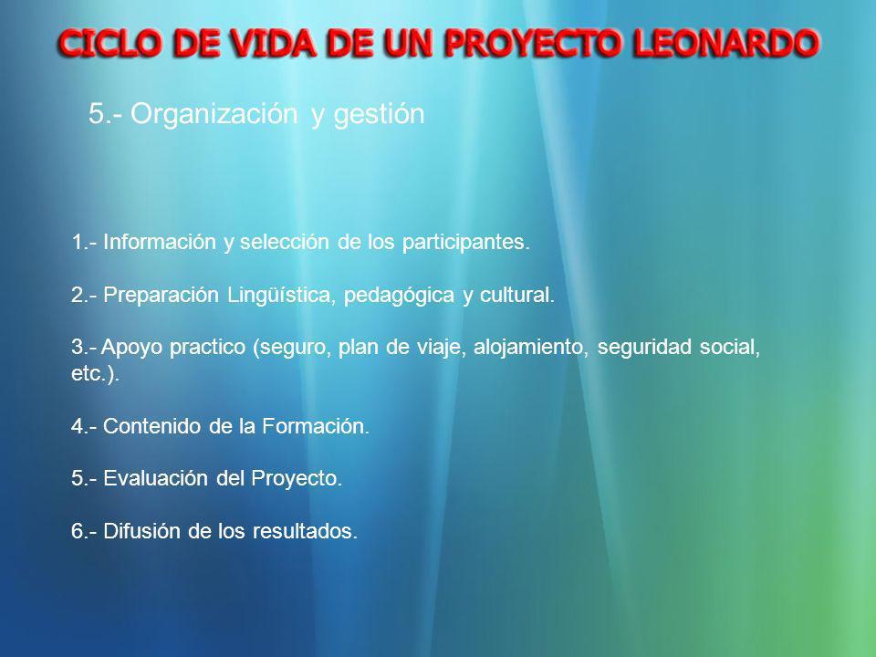 5.- Organización y gestión 1.- Información y selección de los participantes. 2.- Preparación Lingüística, pedagógica y cultural. 3.- Apoyo practico (s