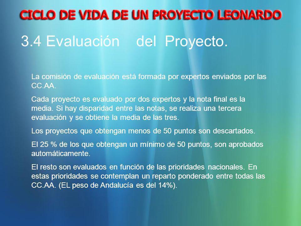 La comisión de evaluación está formada por expertos enviados por las CC.AA. Cada proyecto es evaluado por dos expertos y la nota final es la media. Si