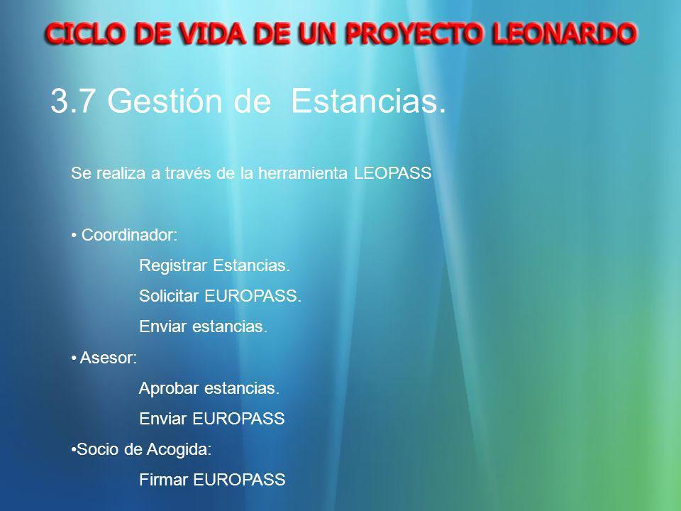3.7 Gestión de Estancias. Se realiza a través de la herramienta LEOPASS Coordinador: Registrar Estancias. Solicitar EUROPASS. Enviar estancias. Asesor