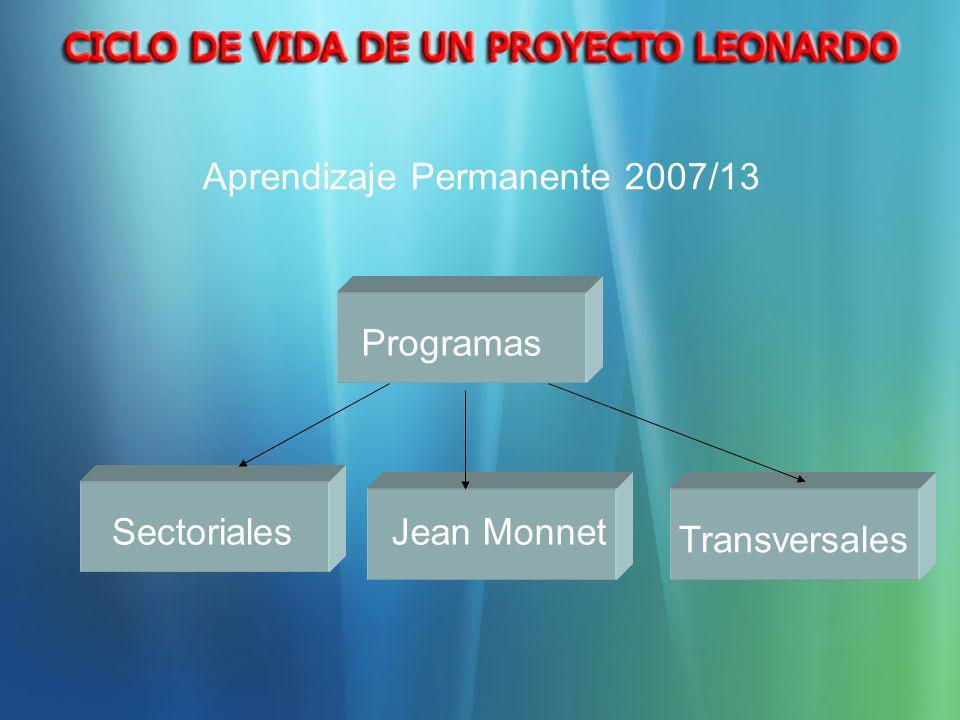 Sectoriales Transversales Jean Monnet Programas Aprendizaje Permanente 2007/13