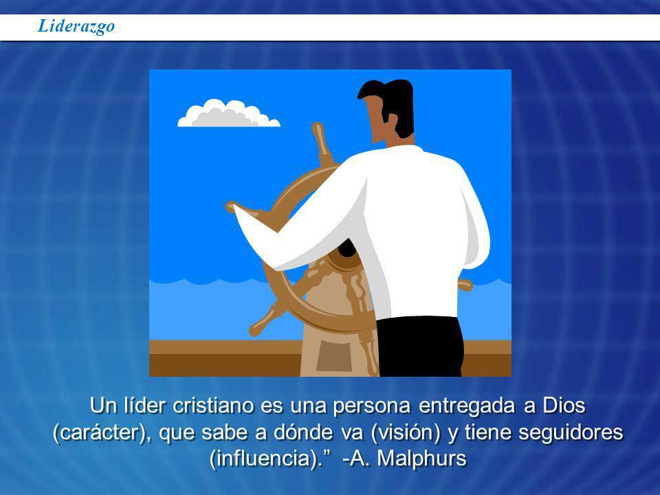 Un líder cristiano es una persona entregada a Dios (carácter), que sabe a dónde va (visión) y tiene seguidores (influencia). -A. Malphurs Liderazgo