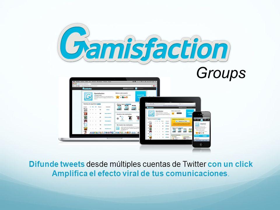 Difunde tweets desde múltiples cuentas de Twitter con un click Amplifica el efecto viral de tus comunicaciones. Groups