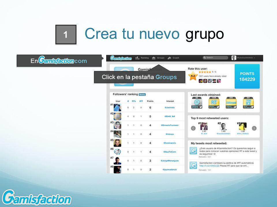 Click en la pestaña Groups En.com 1 Crea tu nuevo grupo