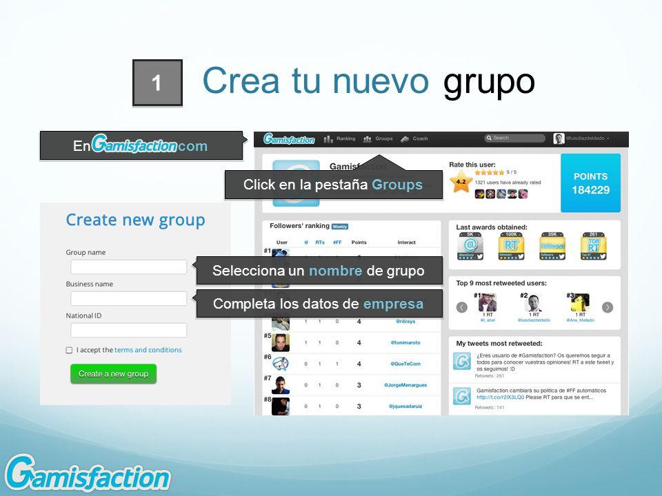 Click en la pestaña Groups Selecciona un nombre de grupo Completa los datos de empresa En.com 1 Crea tu nuevo grupo