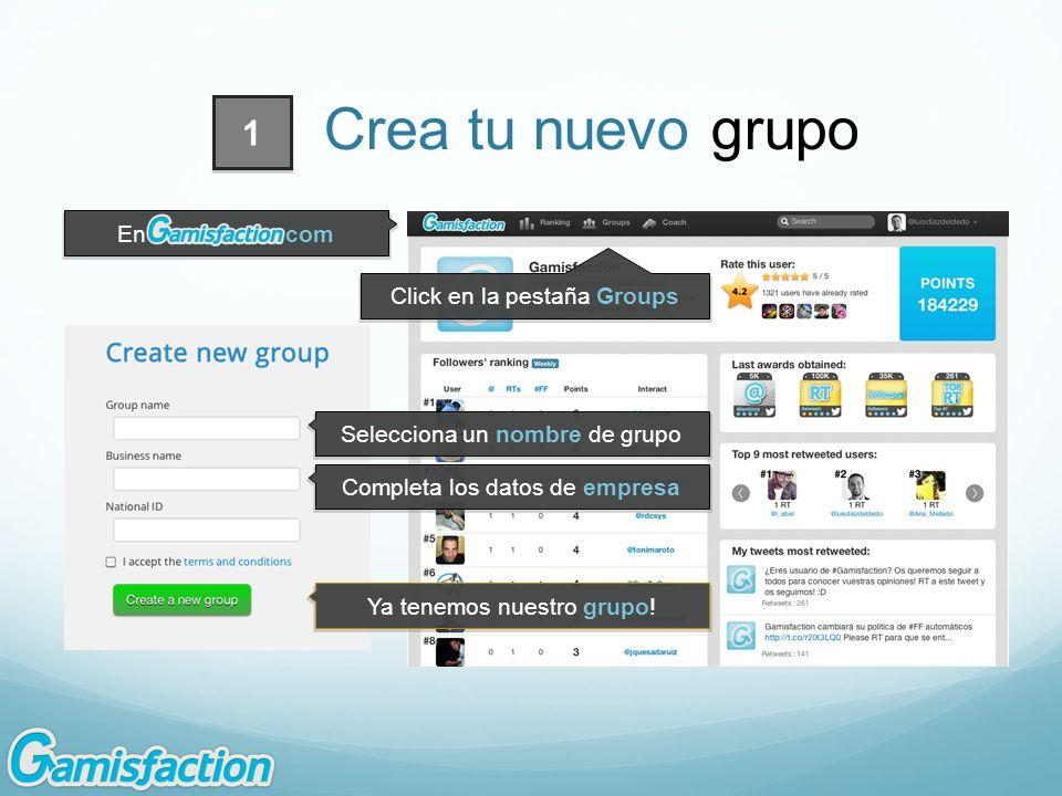 Click en la pestaña Groups Selecciona un nombre de grupo Completa los datos de empresa En.com 1 Crea tu nuevo grupo Ya tenemos nuestro grupo!