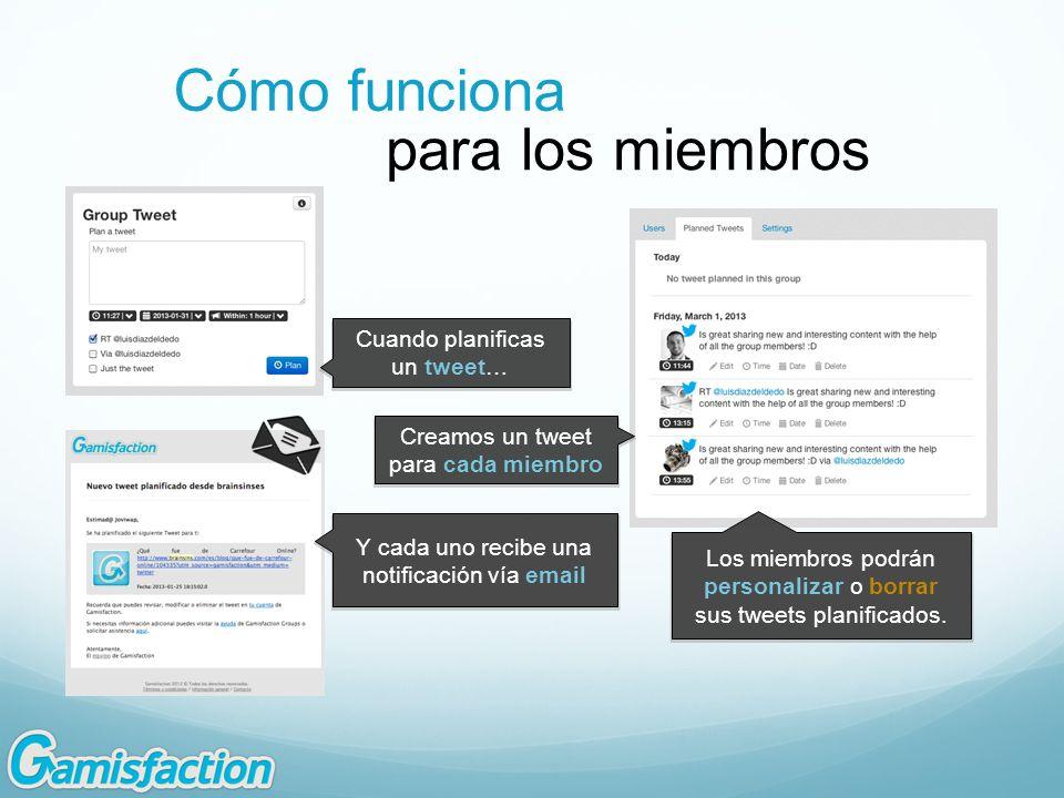 Los miembros podrán personalizar o borrar sus tweets planificados. Y cada uno recibe una notificación vía email Cuando planificas un tweet… Creamos un