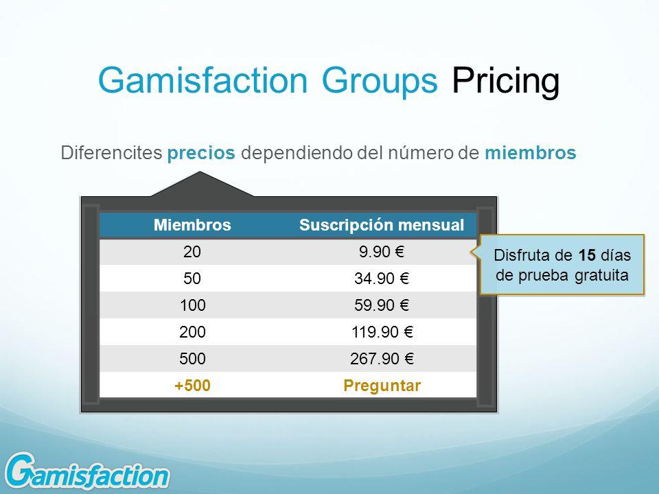 Gamisfaction Groups Pricing Diferencites precios dependiendo del número de miembros MiembrosSuscripción mensual 209.90 5034.90 10059.90 200119.90 5002
