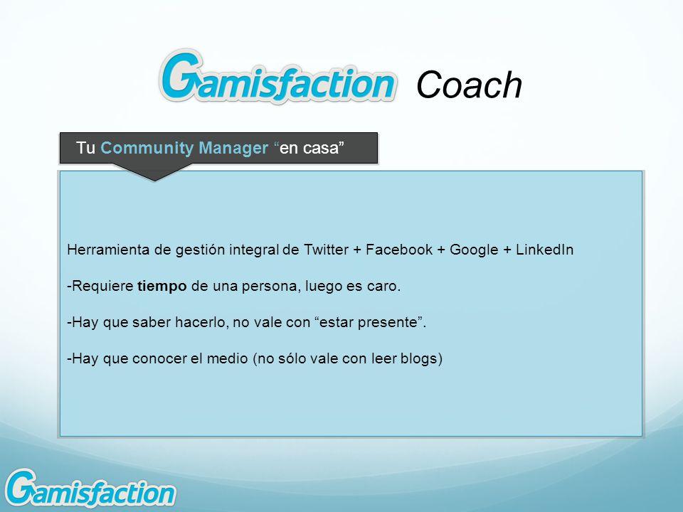 Coach Herramienta de gestión integral de Twitter + Facebook + Google + LinkedIn -Requiere tiempo de una persona, luego es caro. -Hay que saber hacerlo