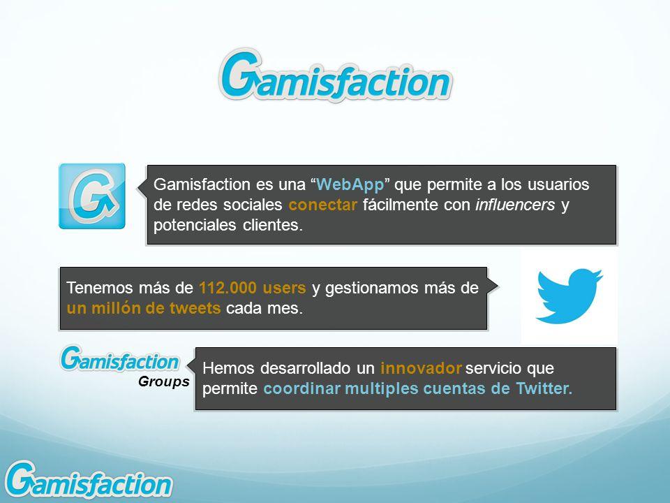 Gamisfaction es una WebApp que permite a los usuarios de redes sociales conectar fácilmente con influencers y potenciales clientes. Tenemos más de 112
