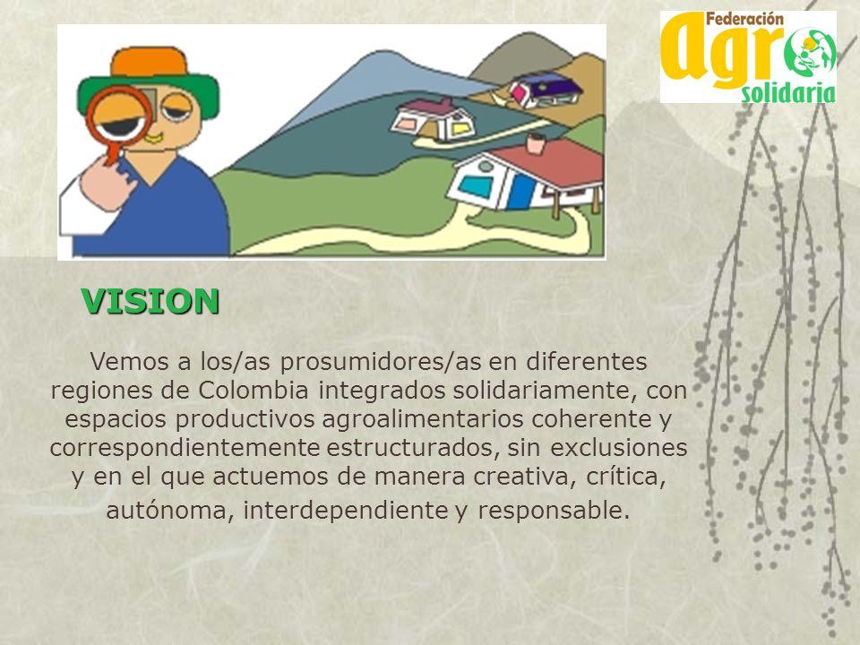 Vemos a los/as prosumidores/as en diferentes regiones de Colombia integrados solidariamente, con espacios productivos agroalimentarios coherente y cor