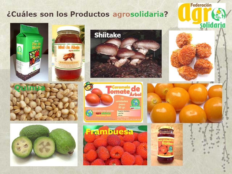 ¿Cuáles son los Productos agrosolidaria? Shiitake Quinua Frambuesa