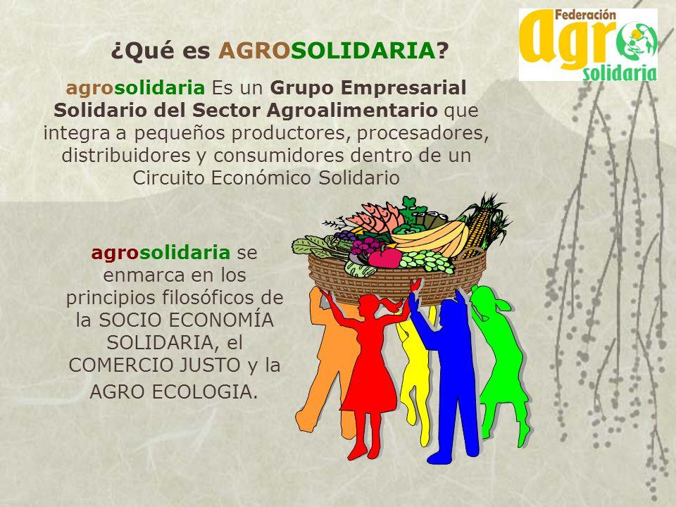 ¿Qué es AGROSOLIDARIA? agrosolidaria Es un Grupo Empresarial Solidario del Sector Agroalimentario que integra a pequeños productores, procesadores, di