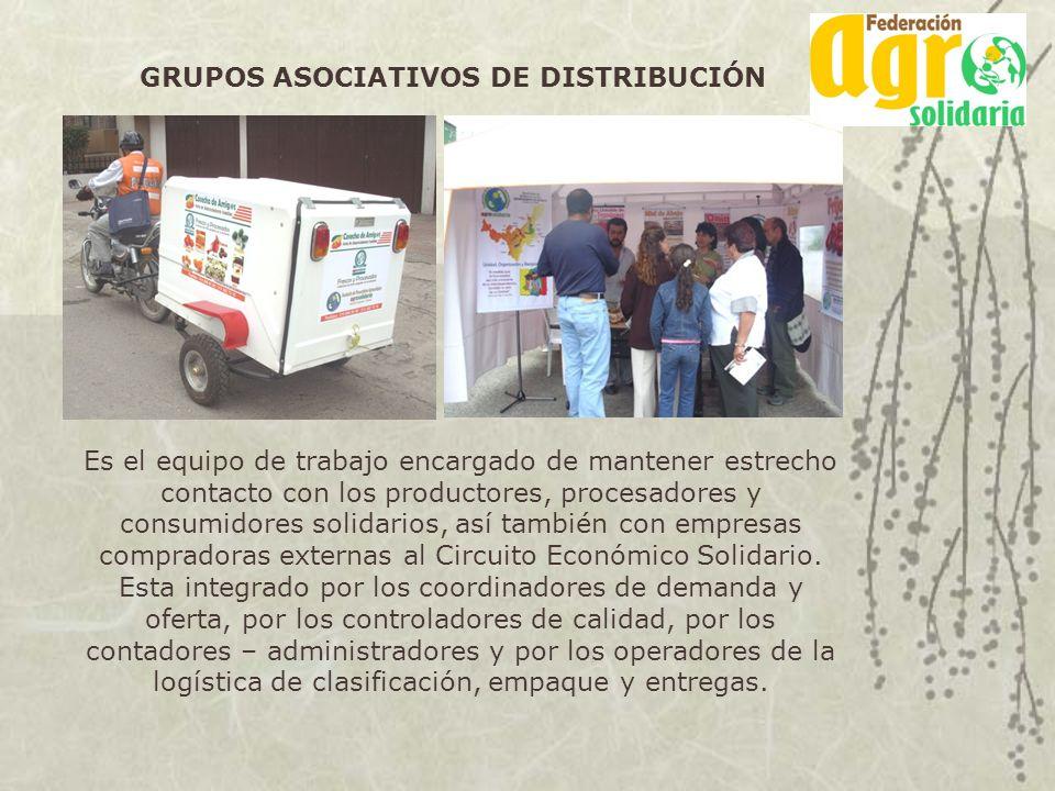 GRUPOS ASOCIATIVOS DE DISTRIBUCIÓN Es el equipo de trabajo encargado de mantener estrecho contacto con los productores, procesadores y consumidores so