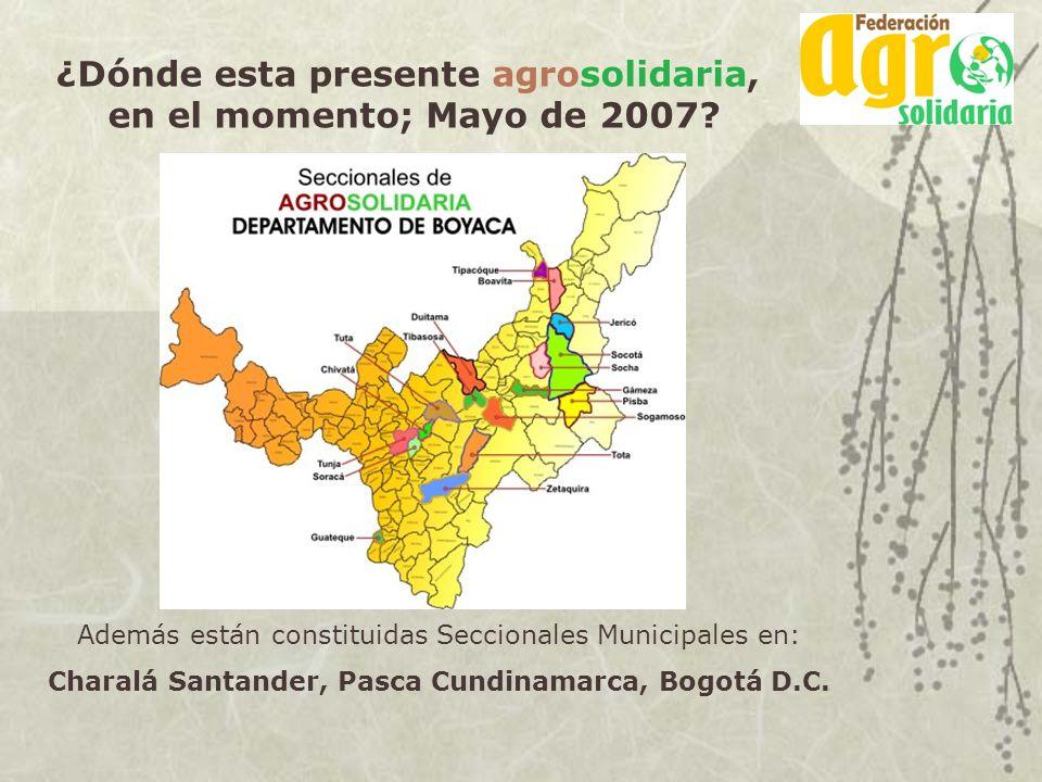 ¿Dónde esta presente agrosolidaria, en el momento; Mayo de 2007? Además están constituidas Seccionales Municipales en: Charalá Santander, Pasca Cundin