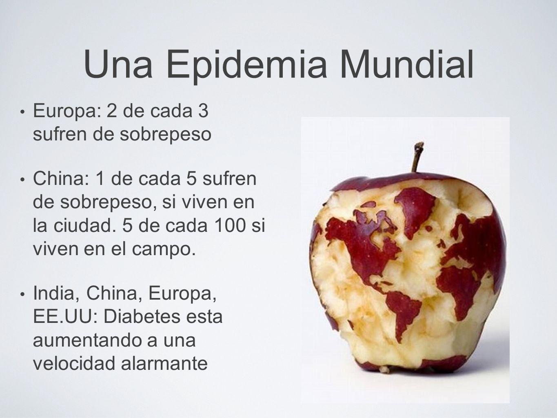Una Epidemia Mundial Europa: 2 de cada 3 sufren de sobrepeso China: 1 de cada 5 sufren de sobrepeso, si viven en la ciudad. 5 de cada 100 si viven en