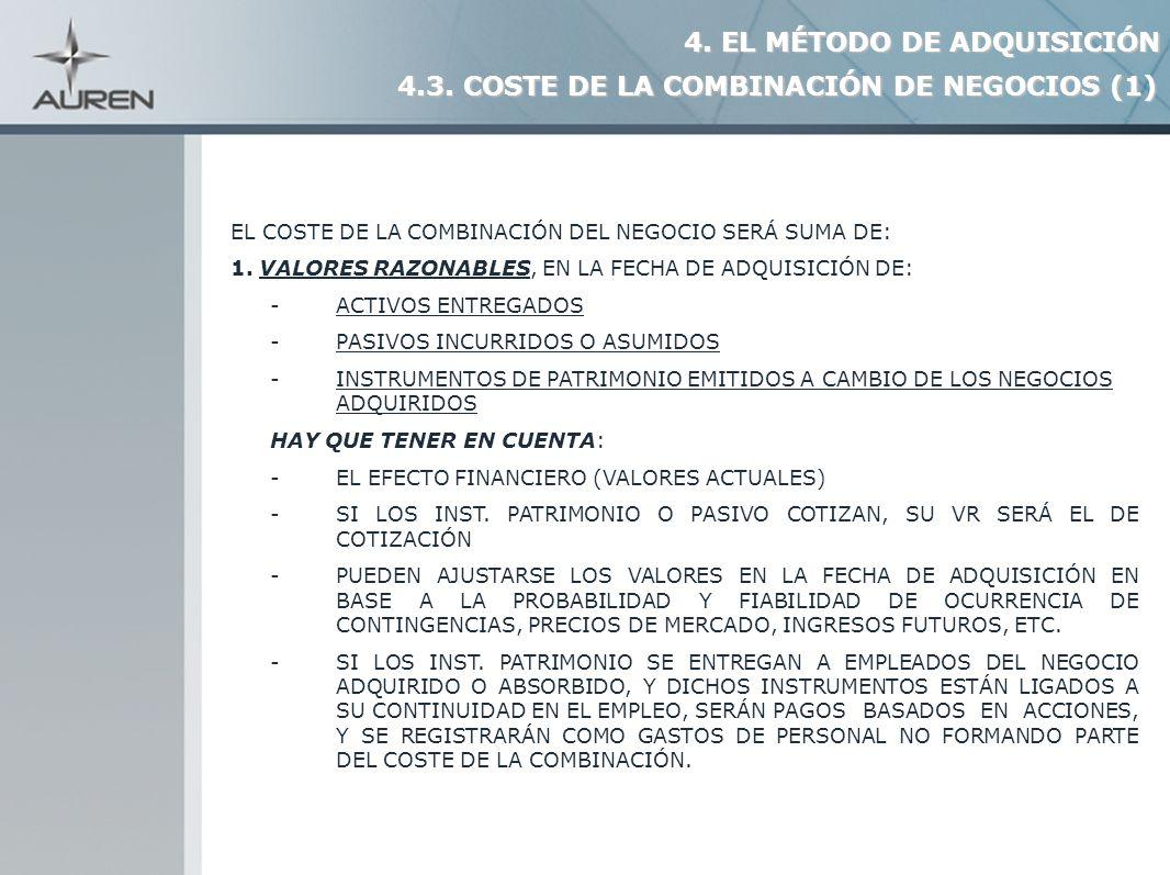 11 EL COSTE DE LA COMBINACIÓN DEL NEGOCIO SERÁ SUMA DE: 1. VALORES RAZONABLES, EN LA FECHA DE ADQUISICIÓN DE: - ACTIVOS ENTREGADOS - PASIVOS INCURRIDO