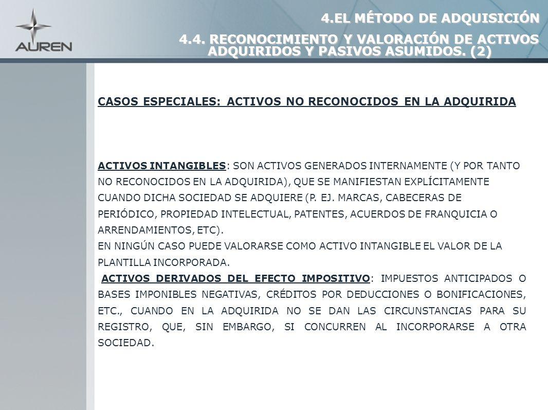 15 CASOS ESPECIALES: ACTIVOS NO RECONOCIDOS EN LA ADQUIRIDA ACTIVOS INTANGIBLES: SON ACTIVOS GENERADOS INTERNAMENTE (Y POR TANTO NO RECONOCIDOS EN LA