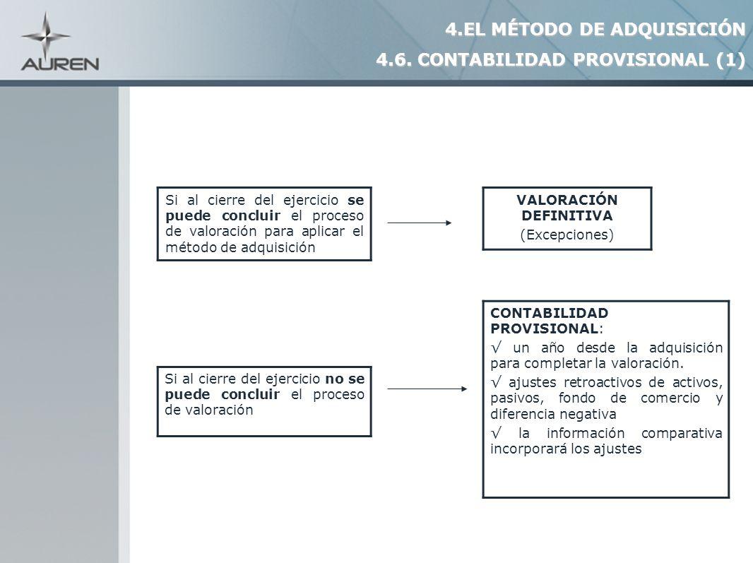 19 Si al cierre del ejercicio se puede concluir el proceso de valoración para aplicar el método de adquisición VALORACIÓN DEFINITIVA (Excepciones) Si