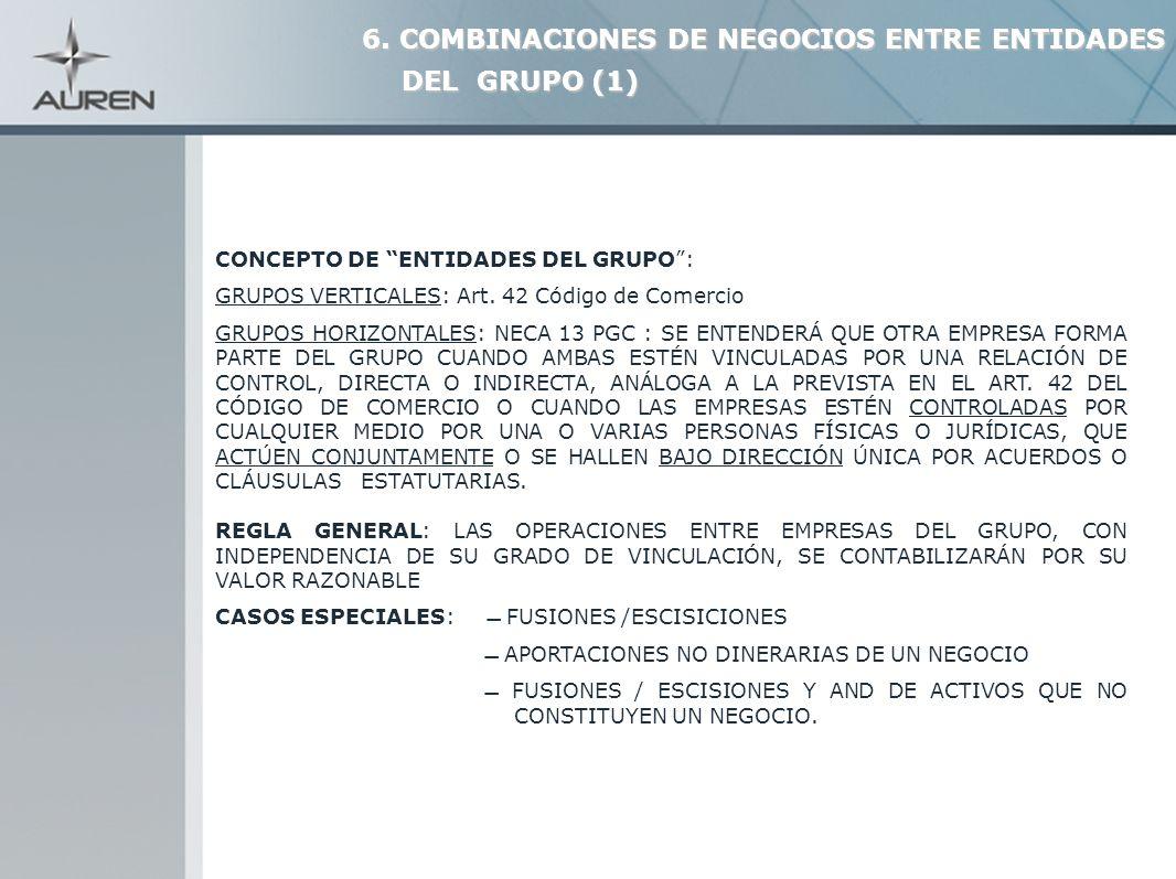 22 CONCEPTO DE ENTIDADES DEL GRUPO: GRUPOS VERTICALES: Art. 42 Código de Comercio GRUPOS HORIZONTALES: NECA 13 PGC : SE ENTENDERÁ QUE OTRA EMPRESA FOR