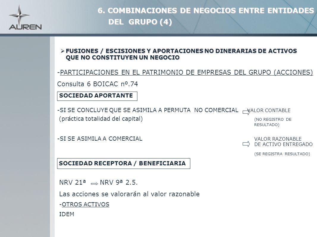 25 -PARTICIPACIONES EN EL PATRIMONIO DE EMPRESAS DEL GRUPO (ACCIONES) Consulta 6 BOICAC nº.74 SOCIEDAD APORTANTE -SI SE CONCLUYE QUE SE ASIMILA A PERM