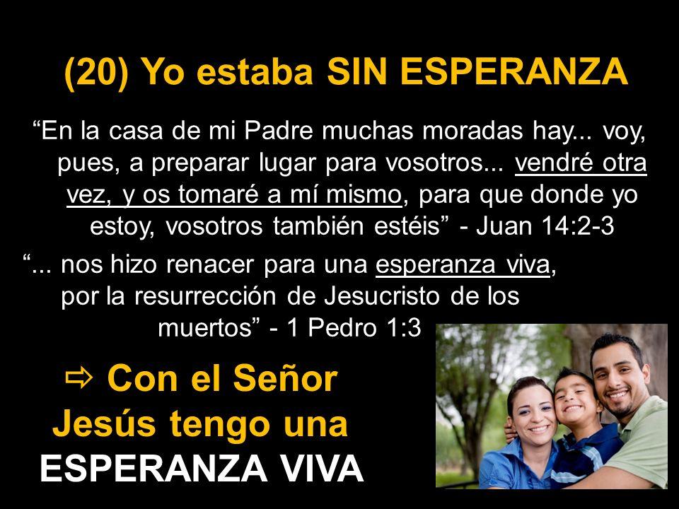 (20) Yo estaba SIN ESPERANZA En la casa de mi Padre muchas moradas hay... voy, pues, a preparar lugar para vosotros... vendré otra vez, y os tomaré a