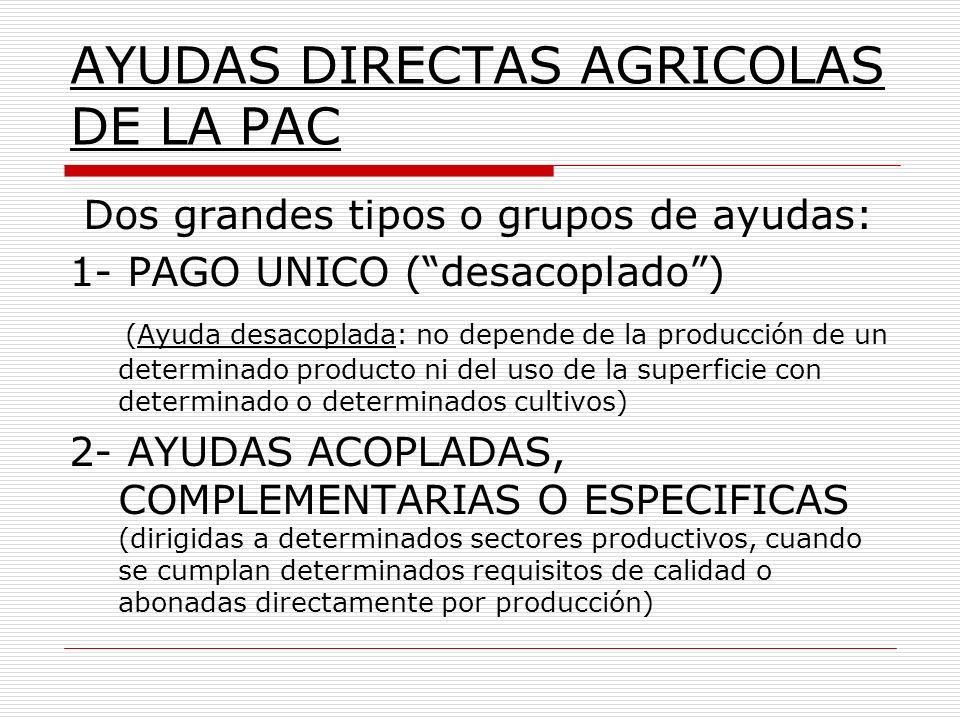 Dos grandes tipos o grupos de ayudas: 1- PAGO UNICO (desacoplado) (Ayuda desacoplada: no depende de la producción de un determinado producto ni del us