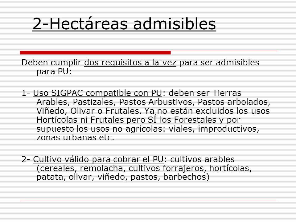 2-Hectáreas admisibles Deben cumplir dos requisitos a la vez para ser admisibles para PU: 1- Uso SIGPAC compatible con PU: deben ser Tierras Arables,