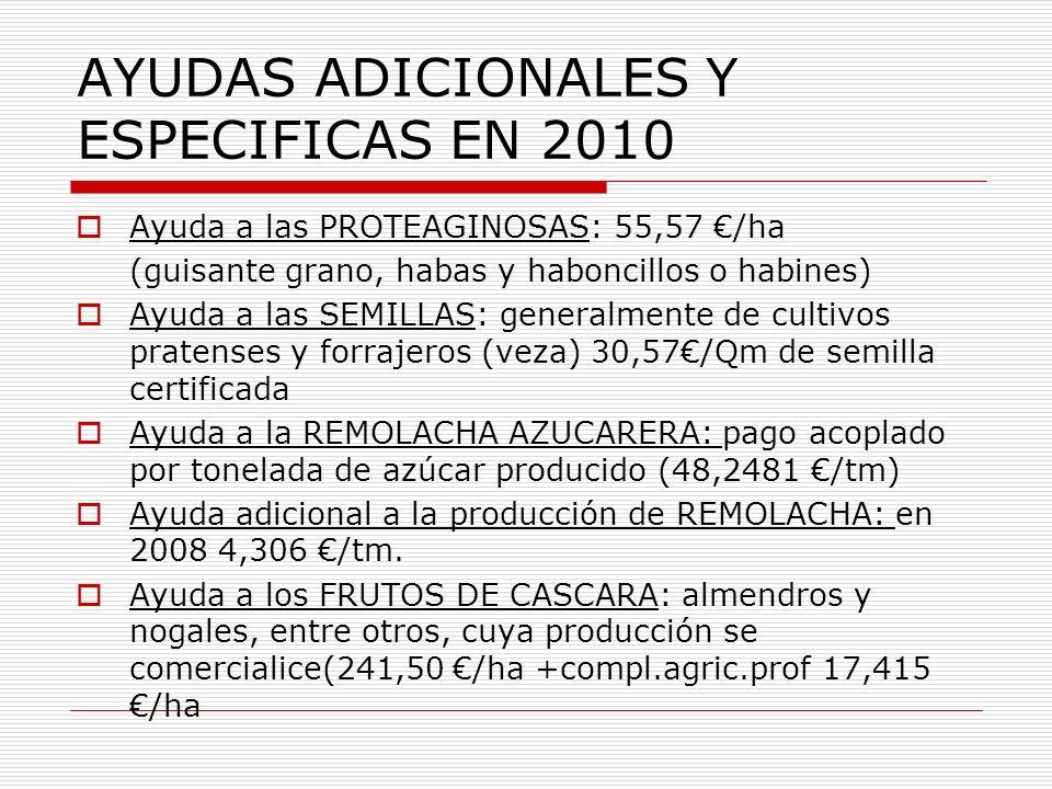 AYUDAS ADICIONALES Y ESPECIFICAS EN 2010 Ayuda a las PROTEAGINOSAS: 55,57 /ha (guisante grano, habas y haboncillos o habines) Ayuda a las SEMILLAS: ge