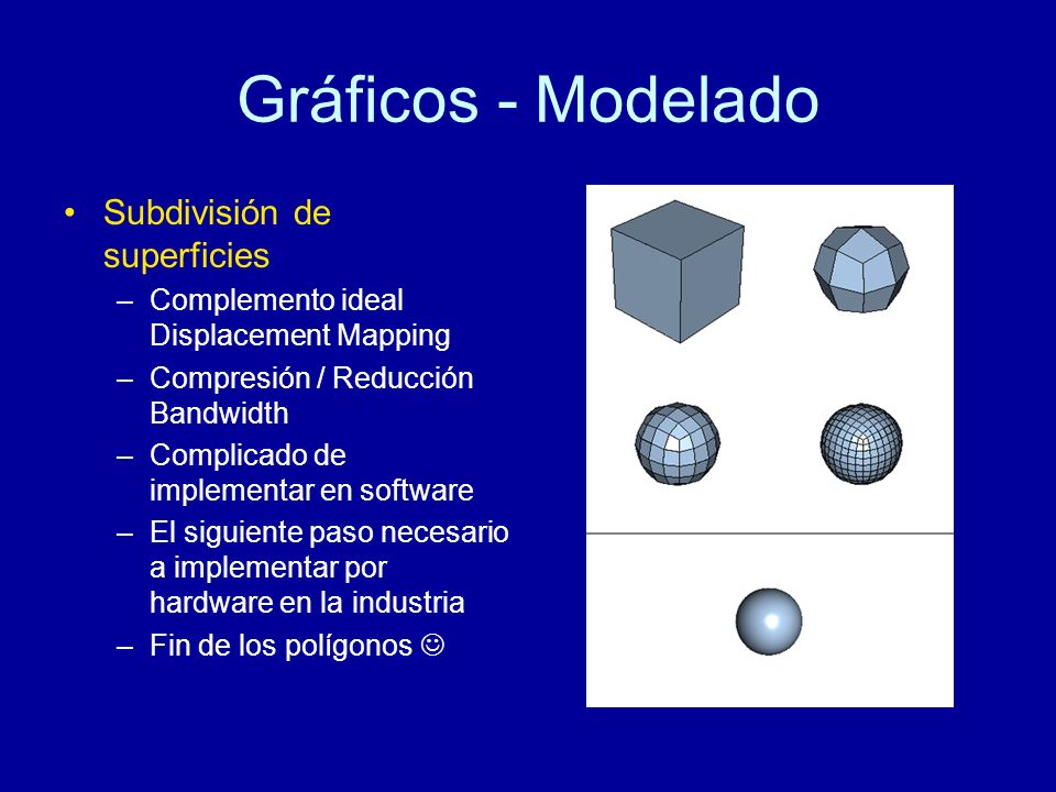 Gráficos - Modelado Subdivisión de superficies –Complemento ideal Displacement Mapping –Compresión / Reducción Bandwidth –Complicado de implementar en