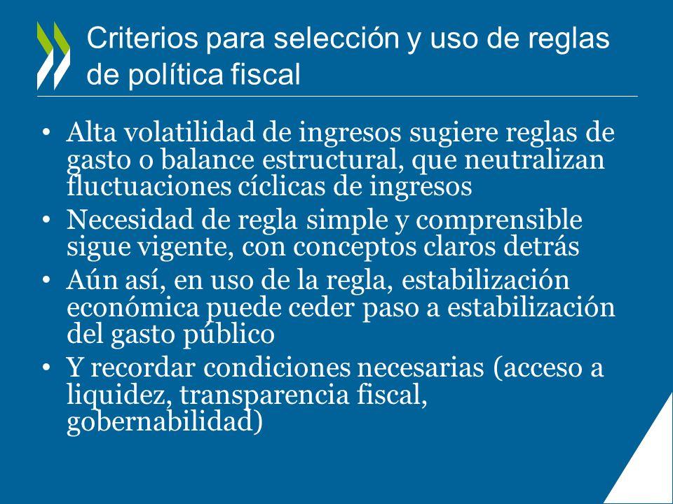 Criterios para selección y uso de reglas de política fiscal Alta volatilidad de ingresos sugiere reglas de gasto o balance estructural, que neutraliza