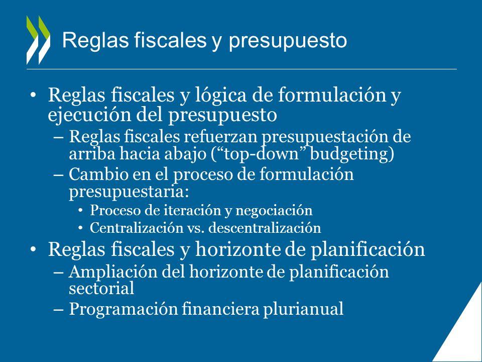 Reglas fiscales y presupuesto Reglas fiscales y lógica de formulación y ejecución del presupuesto – Reglas fiscales refuerzan presupuestación de arrib