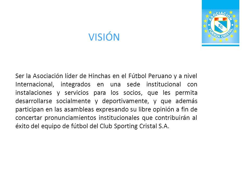 OBJETO SOCIAL DE LA ASOCIACIÓN · La Asociación Fuerza Cristal tiene como objeto promover la integración y camaradería de los hinchas, fanáticos, simpatizantes y personajes identificados con el equipo de fútbol profesional Club Sporting Cristal S.A.