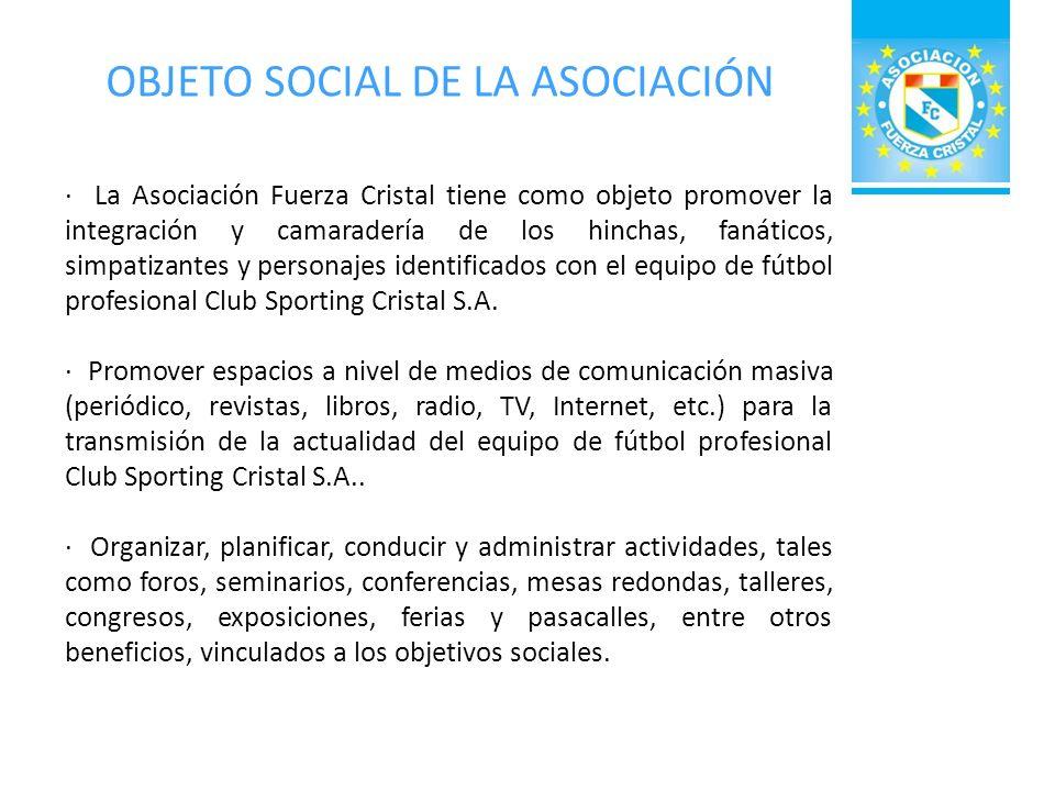 OBJETO SOCIAL DE LA ASOCIACIÓN Promover la construcción o adquisición de inmuebles con instalaciones adecuadas para el sano esparcimiento de sus asociados, sobre todo los que estén relacionados con la práctica deportiva y del deporte del fútbol en particular.